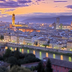 Beautiful sunset over river Arno in Florence, Italy, HDR